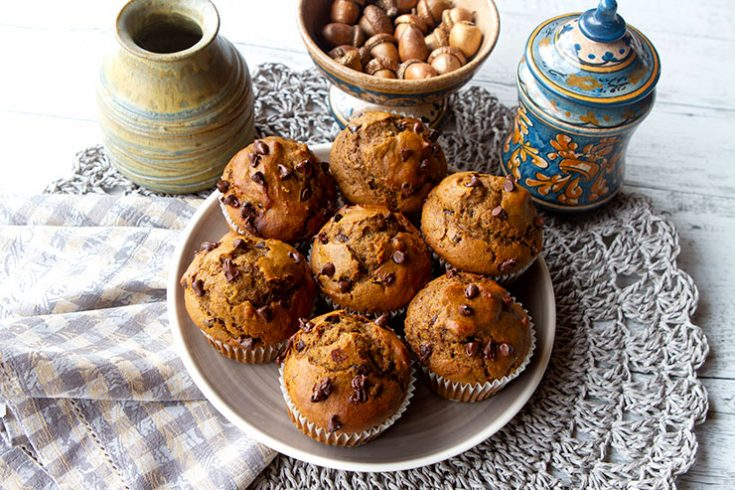 Moist pumpkin muffins with a hint of chocolate.