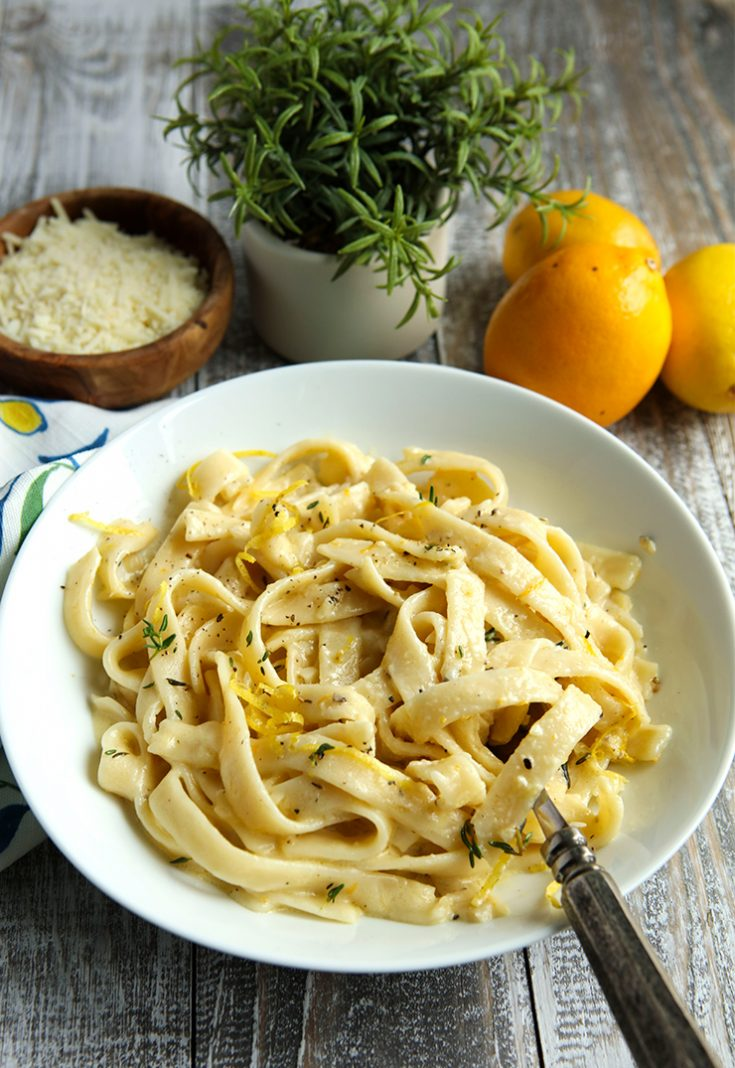 Lemons add a burst of bright flavor to this creamy pasta dish.