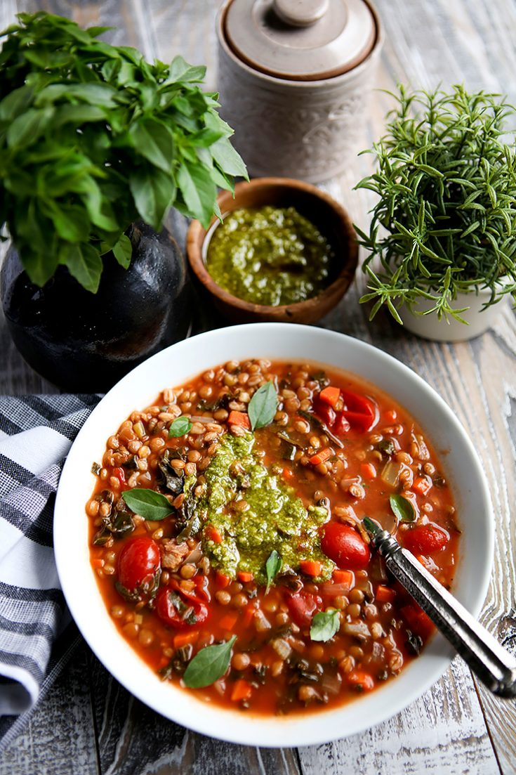 A hearty lentil soup enhanced with farro and lots of healthy vegetables.
