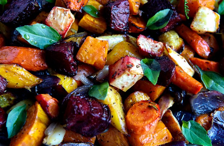 Roasting a variety of root vegetables  caramelizes their natural sugars giving them an earthy sweetness.