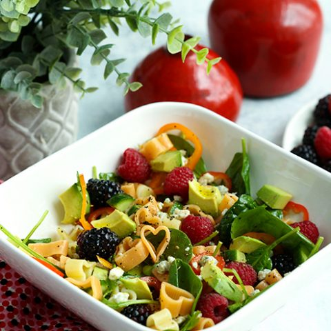 Valentine's Day Berry Pasta Salad with Spinach & Avocado