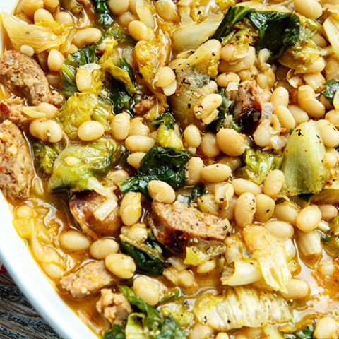 Escarole With White Beans & Sausage