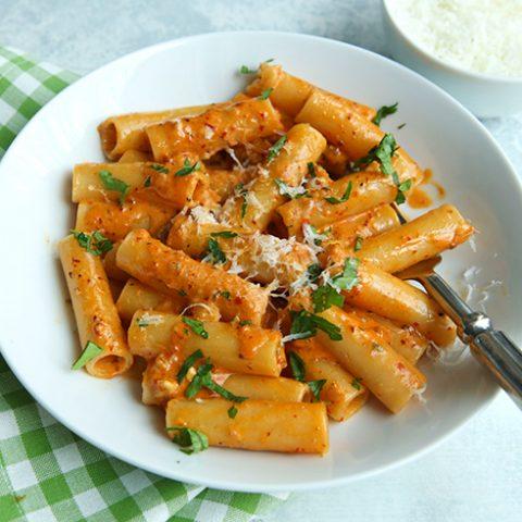 Pasta With Nduja, Gorgonzola Dolce, & Mascarpone
