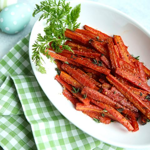 Roasted Ruby Carrots with Garlic & Parmesan Cheese