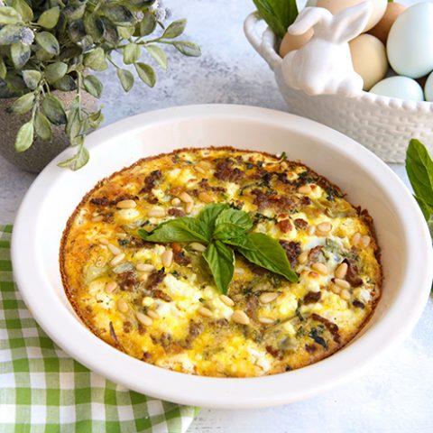 Artichoke, Sausage & Goat Cheese Egg Pie