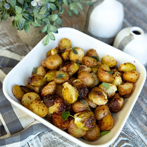 Roasted Baby Potatoes With Brussels Sprouts, Pancetta, & Balsamic Drizzle