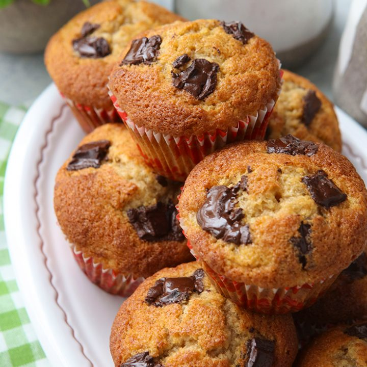 Sprouted Wheat Banana & Dark Chocolate Chunk Muffins