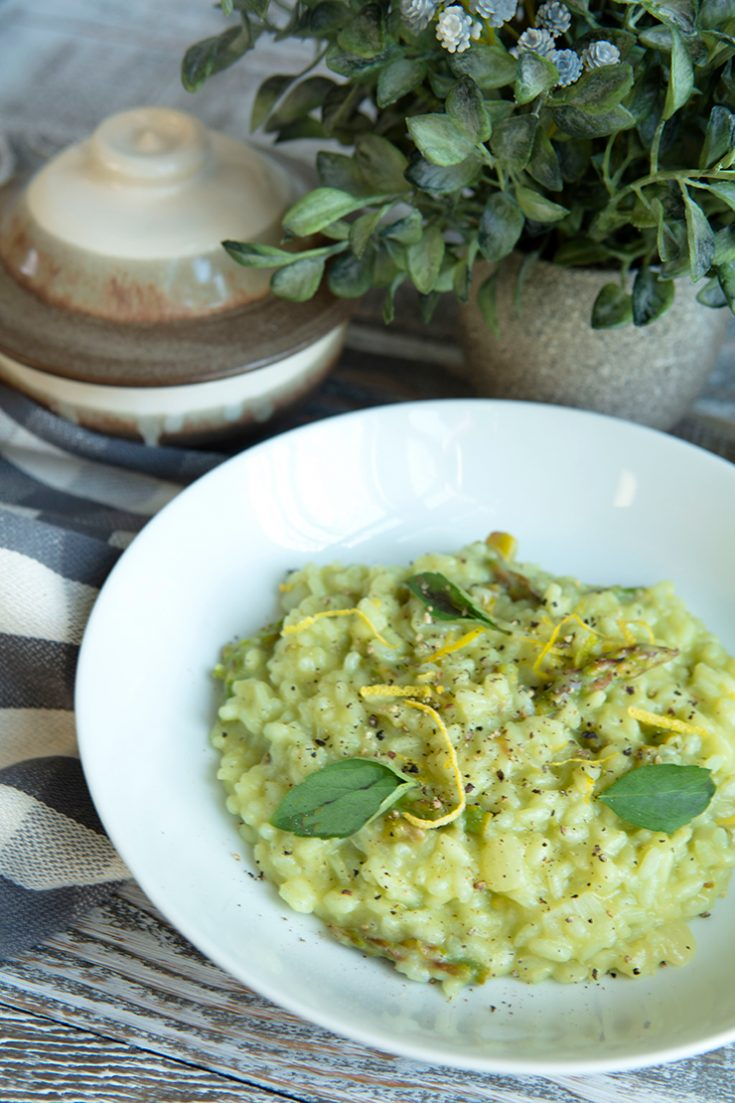 A creamy, brightly flavored risotto made with asparagus pesto and lemon.