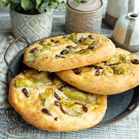 Focaccia with Olives & Artichokes
