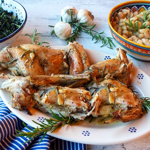 Wine Basted Rabbit With Rosemary