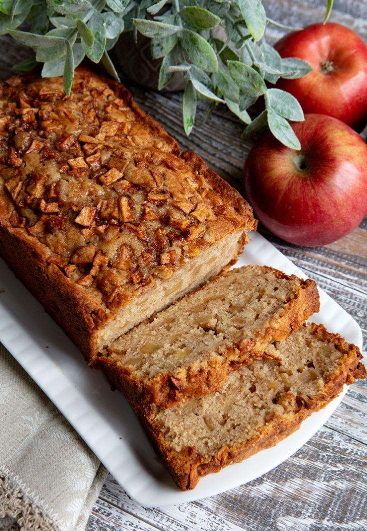 A very moist quick bread studded with apples and flavored with cinnamon.