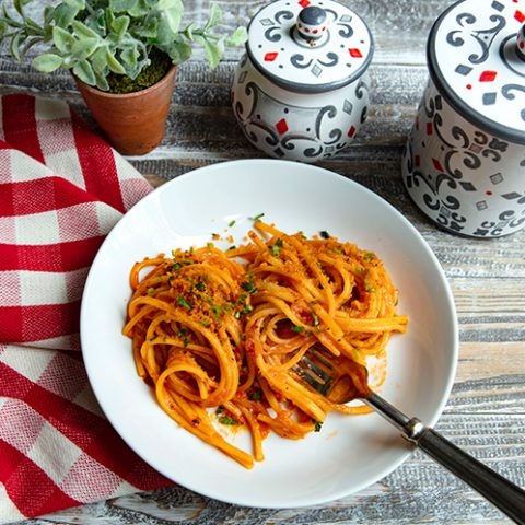 Caramelized Shallot Pasta with Spicy Breadcrumbs