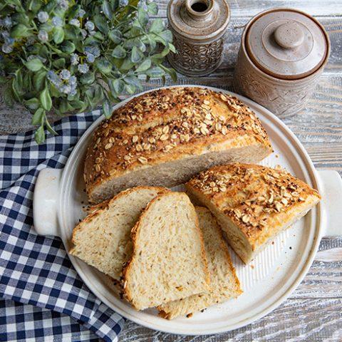 No Knead Seed & Oat Bread