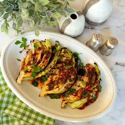 Charred Cabbage Wedges With Sweet & Spicy Calabrian Chili Sauce