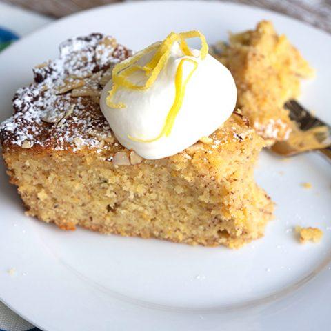 Ricotta Polenta Cake With Rosemary Syrup