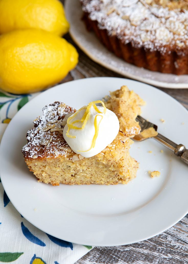 A rustic, moist cake combining polenta, ground almonds, and ricotta cheese.