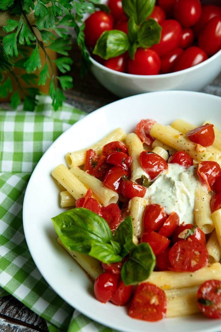 Ricotta cheese and goat cheese are paired to create a sauce that perfectly coats the pasta. A fresh tasting burst tomato topping finishes off the dish.