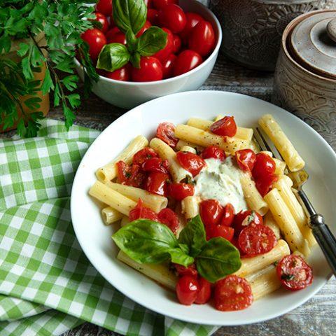 Creamy Pasta With Burst Cherry Tomato Topping