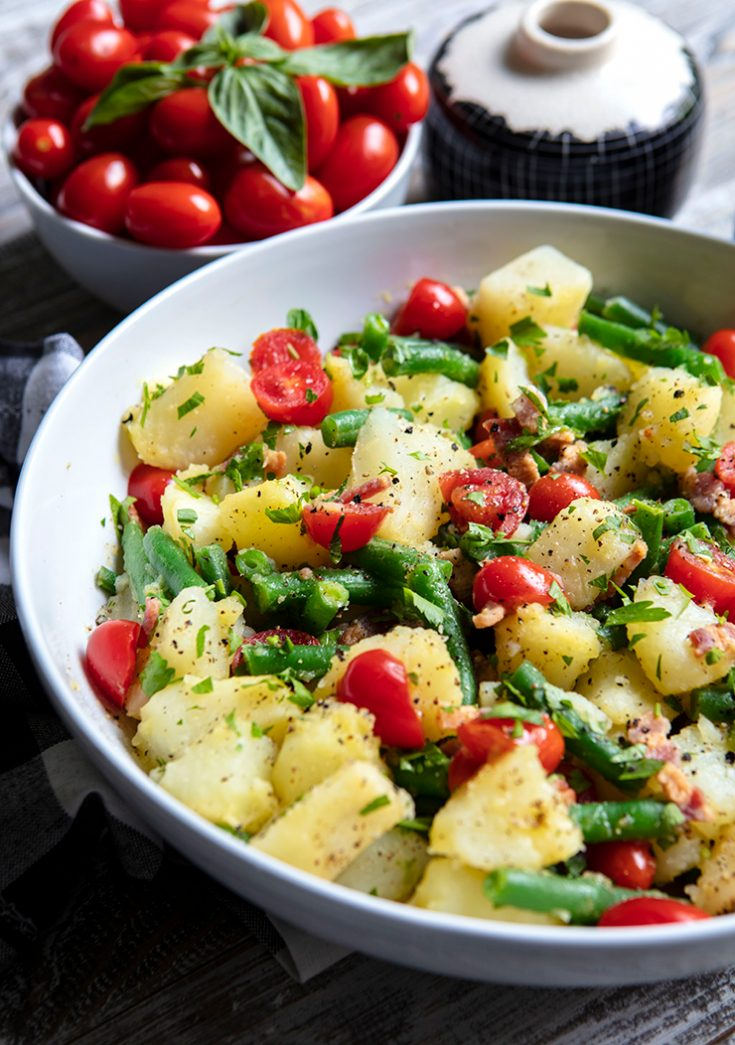 An easy potato salad prepared with a vinaigrette rather than mayonnaise that pairs well with grilled meat and poultry.