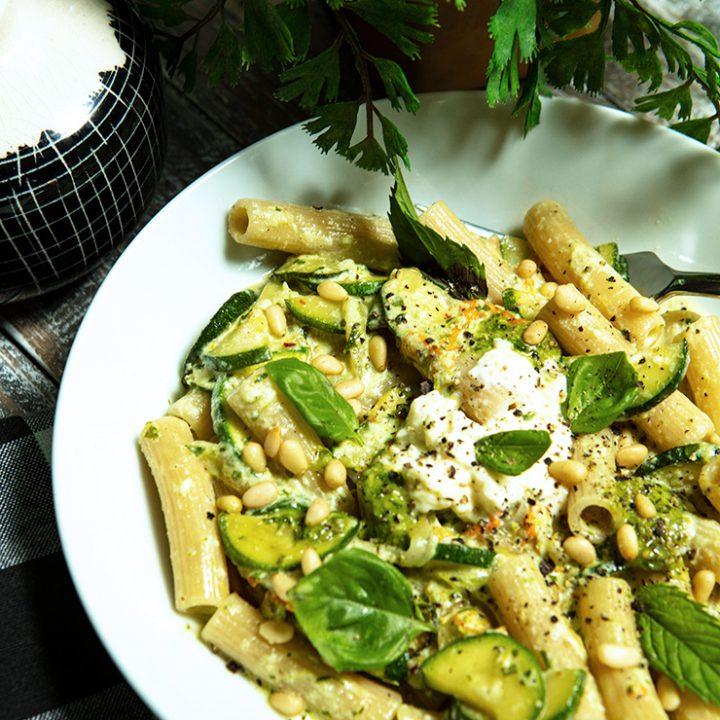 Pasta With Zucchini, Ricotta Cheese, & Basil Pesto