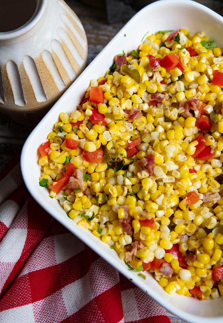 A quick and easy summer side dish using fresh sweet corn when it is in season.