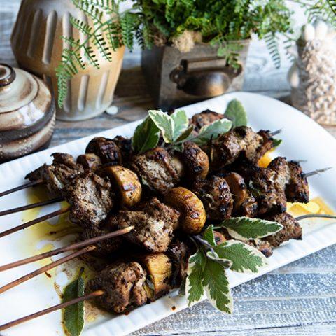 Tuscan Pork & Mushroom Skewers