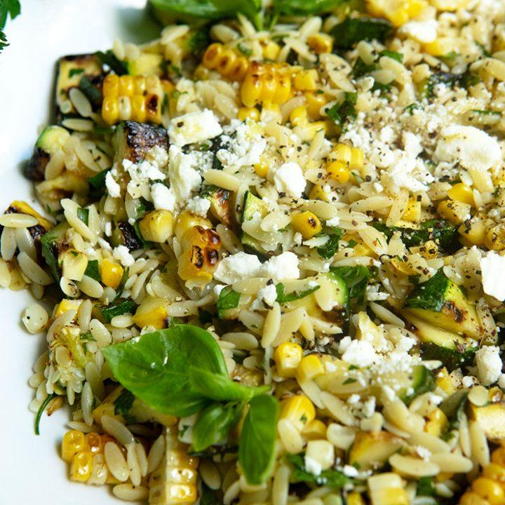 Grilled Corn & Zucchini Orzo Salad