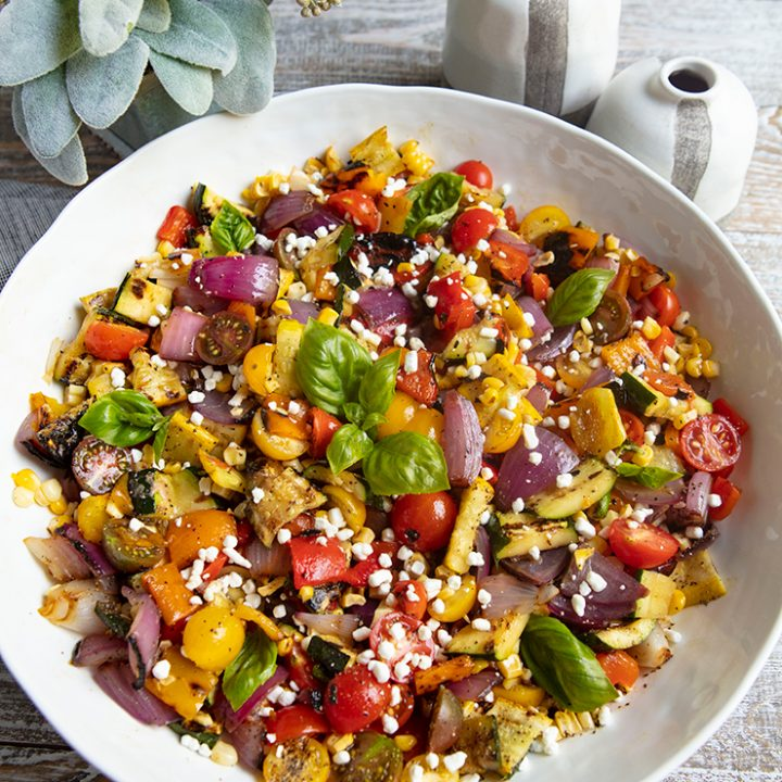 Grilled Vegetable Salad With Goat Cheese Crumbles