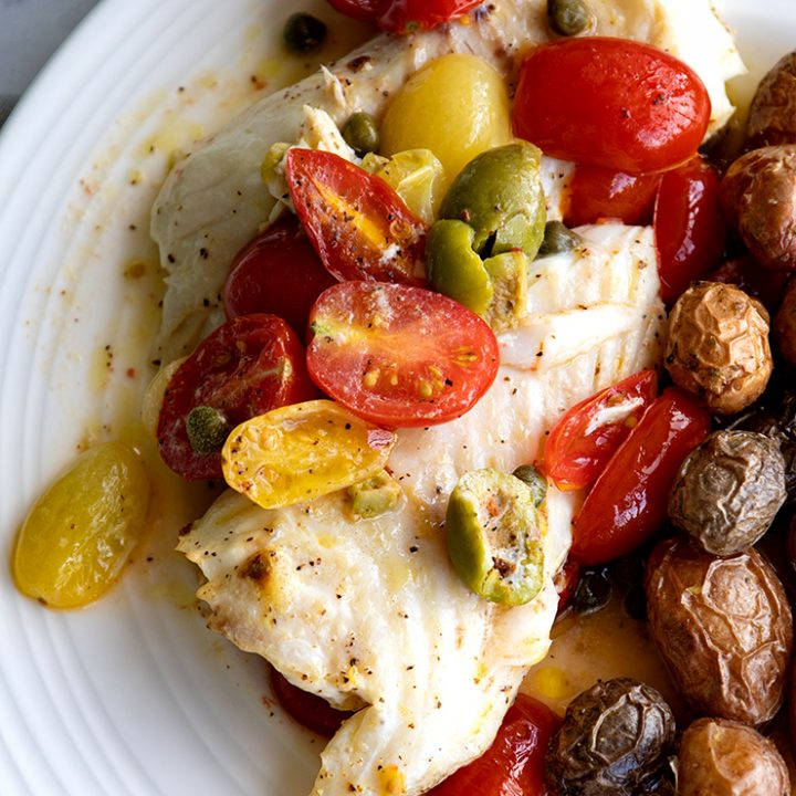 Baked Whitefish With Olives & Cherry Tomatoes