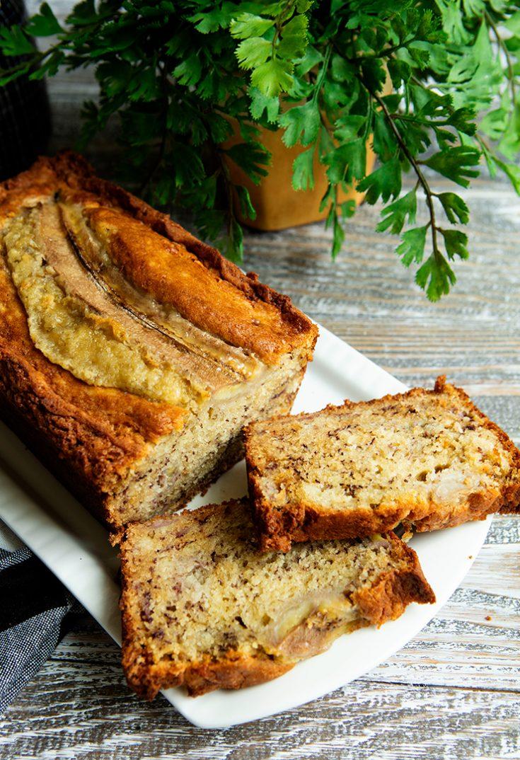 A very moist loaf studded with chunks of sweet banana.