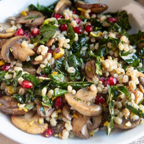 Warm Mushroom Barley & Kale Salad