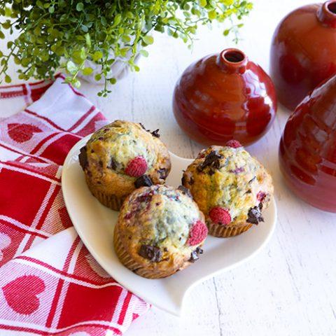 Raspberry, Dark Chocolate Chunk Muffins