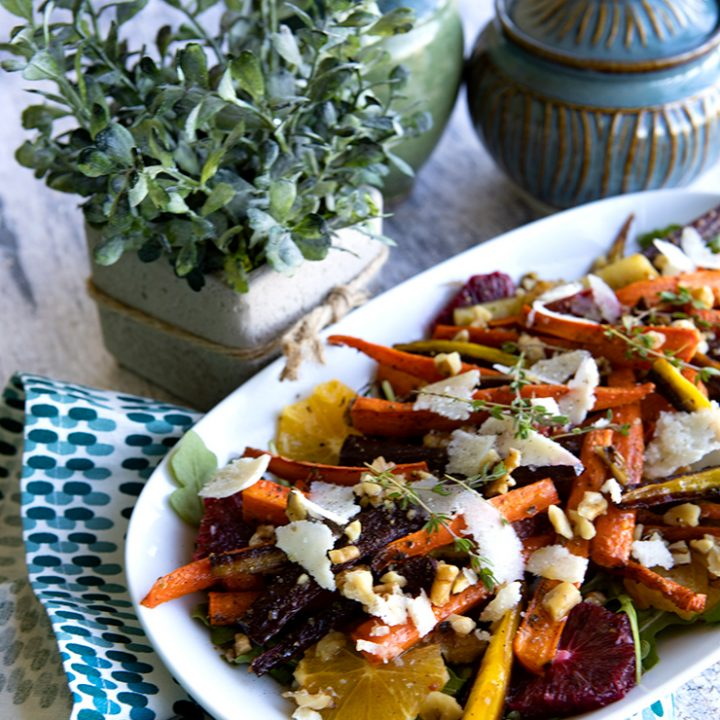 Maple Roasted Carrot Salad With Blood Oranges, & Shaved Grana Padano