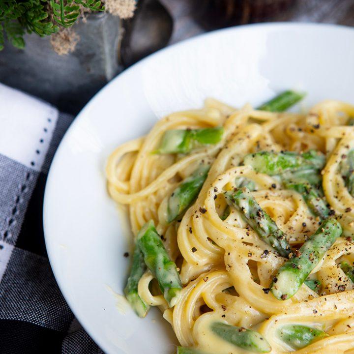Pasta With Asparagus & Parmesan Fonduta