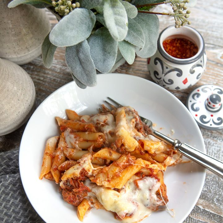 Cheesy Baked Pasta With Slow Cooked Lamb Shank Ragu Sauce