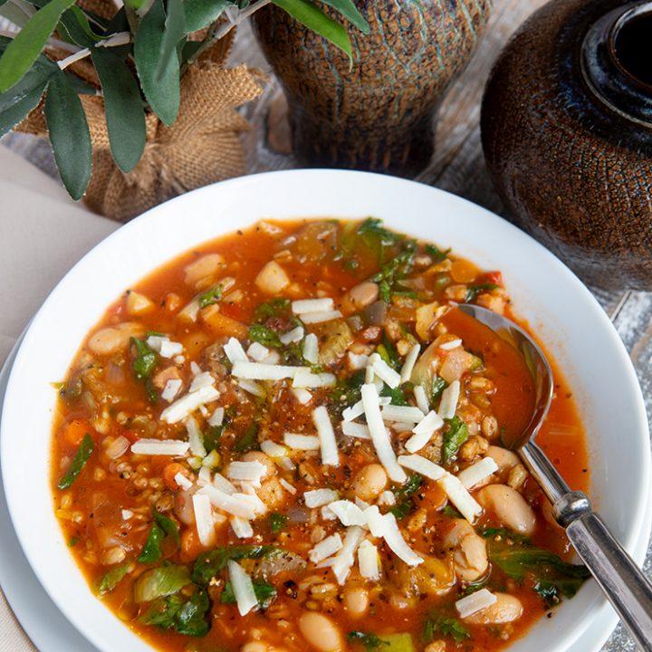 Toasted Farro Soup With Escarole & White Beans