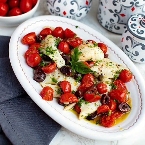 Tilapia With Roasted Tomatoes, Capers & Olives